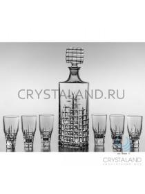 Хрустальный подарочный набор для алкогольных напитков: штоф и 6 стопок, 0.75 л.