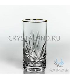 """Набор хрустальных стаканов для коктейля  """"Лотос"""" (отводка золотом), 6 шт, 330 гр."""