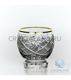 Набор хрустальных стаканов с золотой отводкой 6 шт, 200 гр.