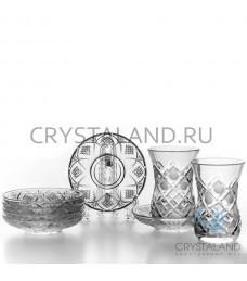 """Набор  хрустальных стаканов и стеклянных блюдец """"Восточный"""" 6 шт., 125 гр."""