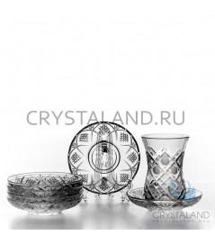 """Набор хрустальных стаканов и стеклянных блюдец  """"Восточный"""" 6 шт. 125 гр."""