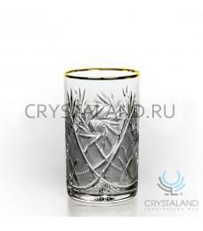 Набор хрустальных стаканов с отводкой золото , 6 шт, 250 гр.