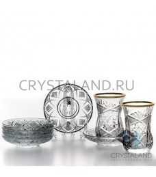 """Набор стаканов и блюдец для чая  """"Восточный"""" (отводка золотом)  6 шт, 125 гр."""