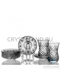 """Набор из стаканов и стеклянных блюдец """"Восточный"""" 6 шт, 125 гр"""