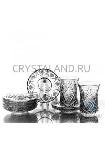 """Набор из стаканов и стеклянных блюдец """"Восточный"""" 6 шт. 125 гр"""