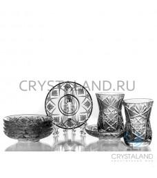 """Набор из стаканов и стеклянных блюдец """"Восточный"""" 6 шт, 125 гр."""