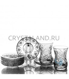 """Набор стаканов и стеклянных блюдец """"Восточный"""" 6 шт, 125 гр."""
