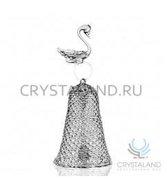 Колокольчик из горного хрусталя с фигуркой большого лебедя (звенит) 17 см