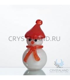 Стеклянный сувенир в виде малого снеговика 15,5 см