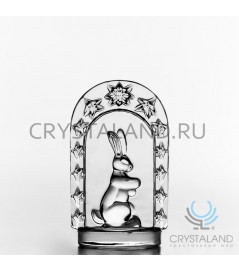 Сувенир из бесцветного хрусталя с символикой года кролика 10 см