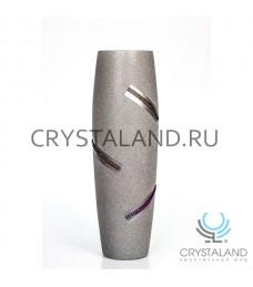 """Стеклянная ваза """"Болеро"""" с ручной росписью авторской работы 50 см."""
