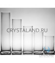 Стеклянная ваза-цилиндр для цветов 30см.
