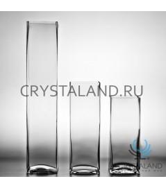 Стеклянная ваза-квадрат для цветов 30см.