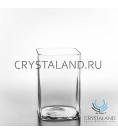 "Стеклянная ваза для цветов ""квадрат"" 20см"