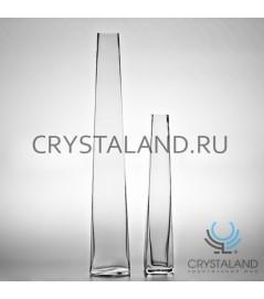 Стеклянная ваза для цветов Пирамида 39см.