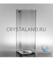 Стеклянная ваза для цветов в виде квадрата 40см.