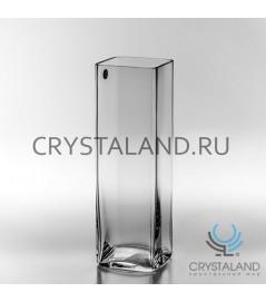 Стеклянная ваза для цветов в виде квадрата 37,5см.