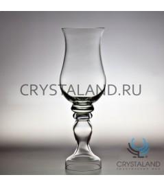 Стеклянная ваза для цветов в виде подсвечника 42см.