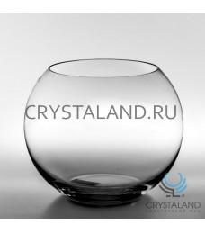 Стеклянная ваза для цветов в виде шара 17см.