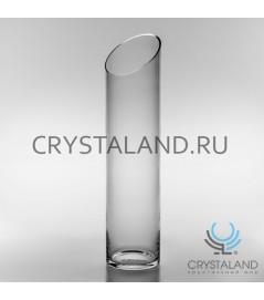 Стеклянная ваза для цветов в виде цилиндра 50 см.