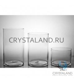 Стеклянная ваза для цветов в виде цилиндра 38см.