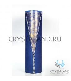 """Стеклянная ваза """"Джинса"""" с ручной росписью авторской работы 70 см."""