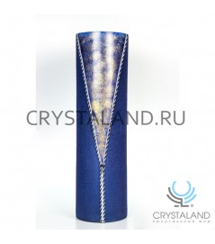 """Стеклянная ваза """"Джинса"""" с ручной росписью авторской работы 50 см."""