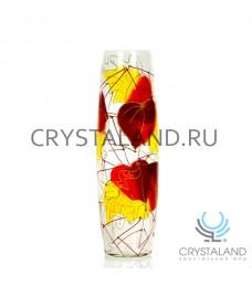"""Стеклянная ваза """"Игривая осень""""  с ручной росписью авторской работы 40 см."""