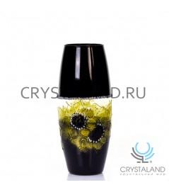 """Стеклянная ваза """"Ночь"""" с ручной росписью авторской работы 26 см."""