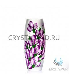 """Стеклянная ваза """"Пробуждение"""" с ручной росписью авторской работы 26 см."""