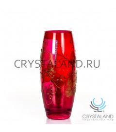 """Стеклянная ваза """"Роза"""" с ручной росписью авторской работы 26 см."""