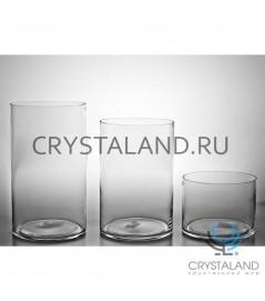 Стеклянная ваза для цветов в виде цилиндра 30см.