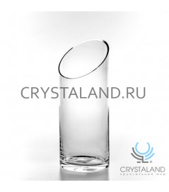 Стеклянная ваза-цилиндр с косым срезом 30см.