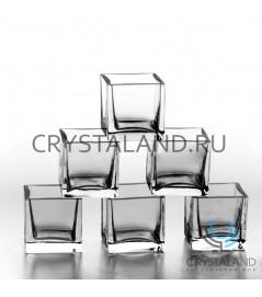 """Комплект стеклянных подсвечников """"Кубики"""" 6х6 см."""